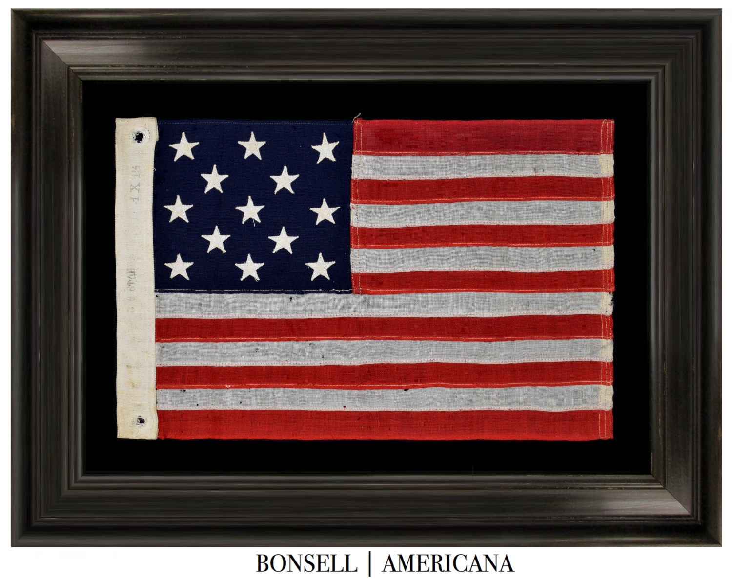 13 Star Antique Flag with a 3-2-3-2-3 Pattern