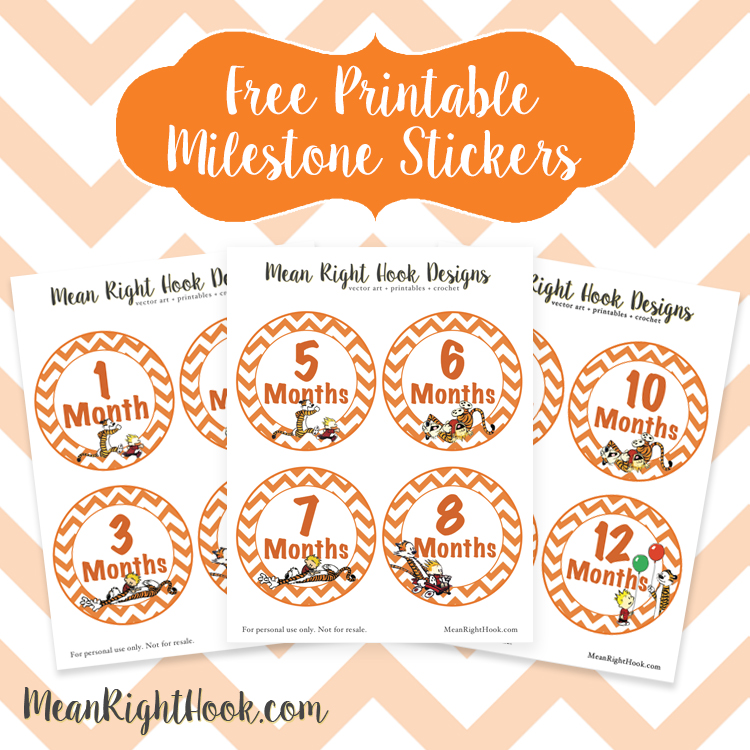 Free Printable Milestone Stickers from MeanRightHook.com