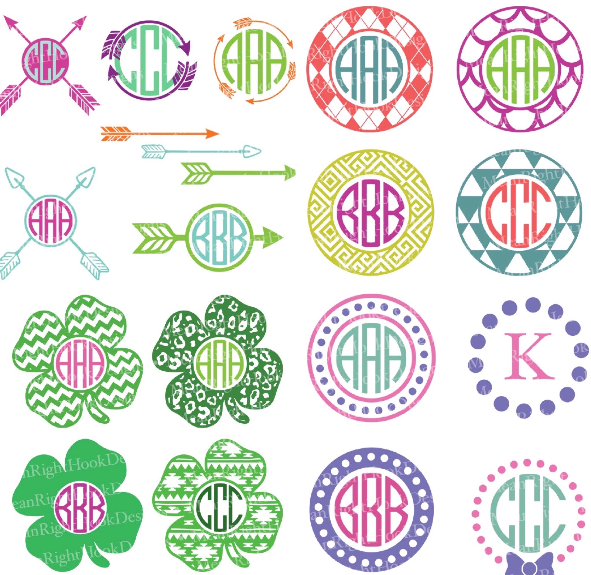 Mean Right Hook Monogram Bundle on Little Big Crafter