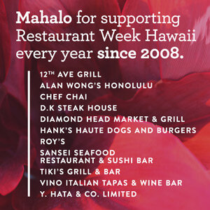 Mahalo for supporting Restaurant Week Hawaii every year since 2008!