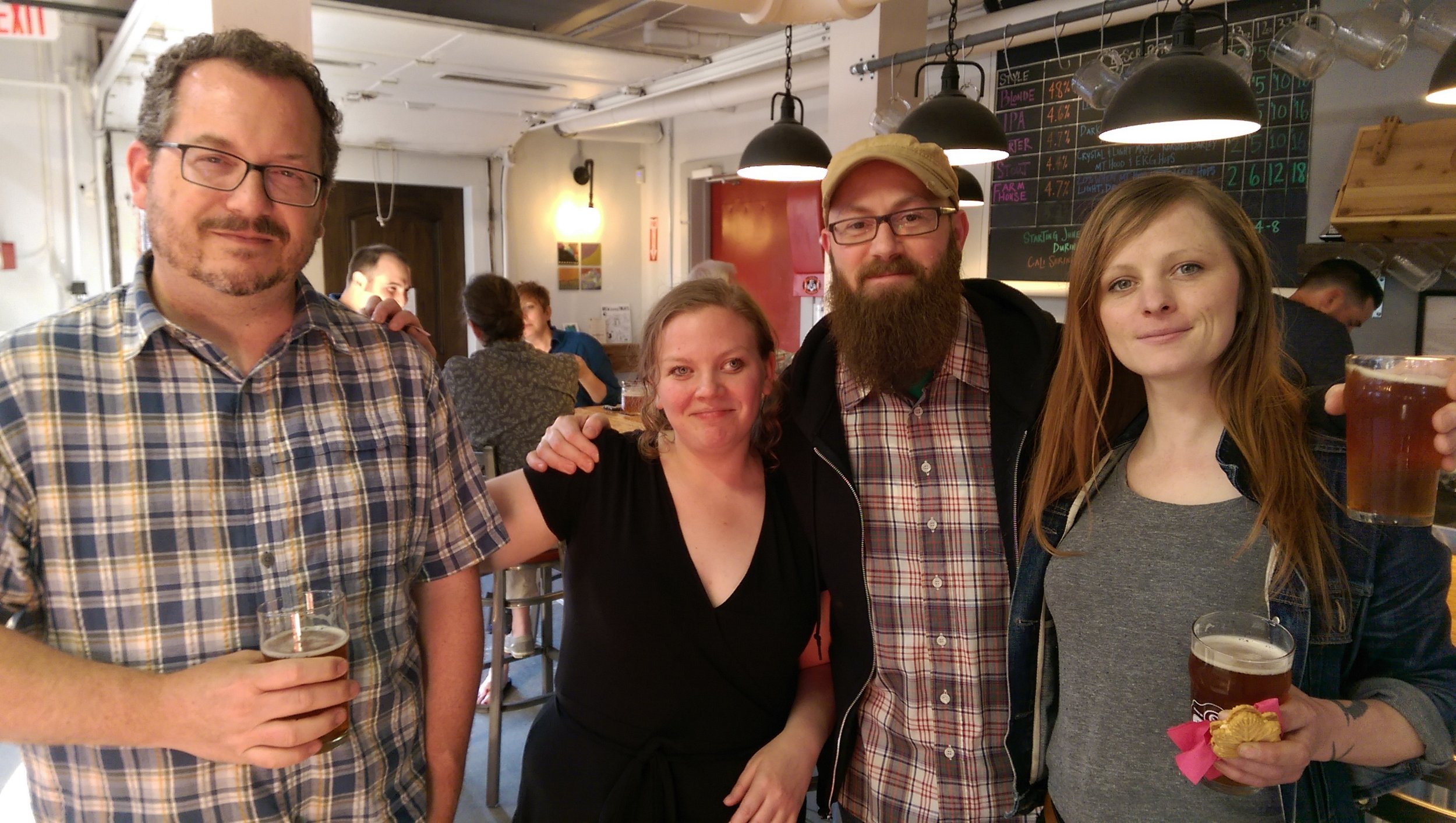 L-R: local artist anthony falcetta, artist cali serino, owners of mingo gallery george frary and katherine romansky attend serino's opening at gentile brewing co. in beverly, MA