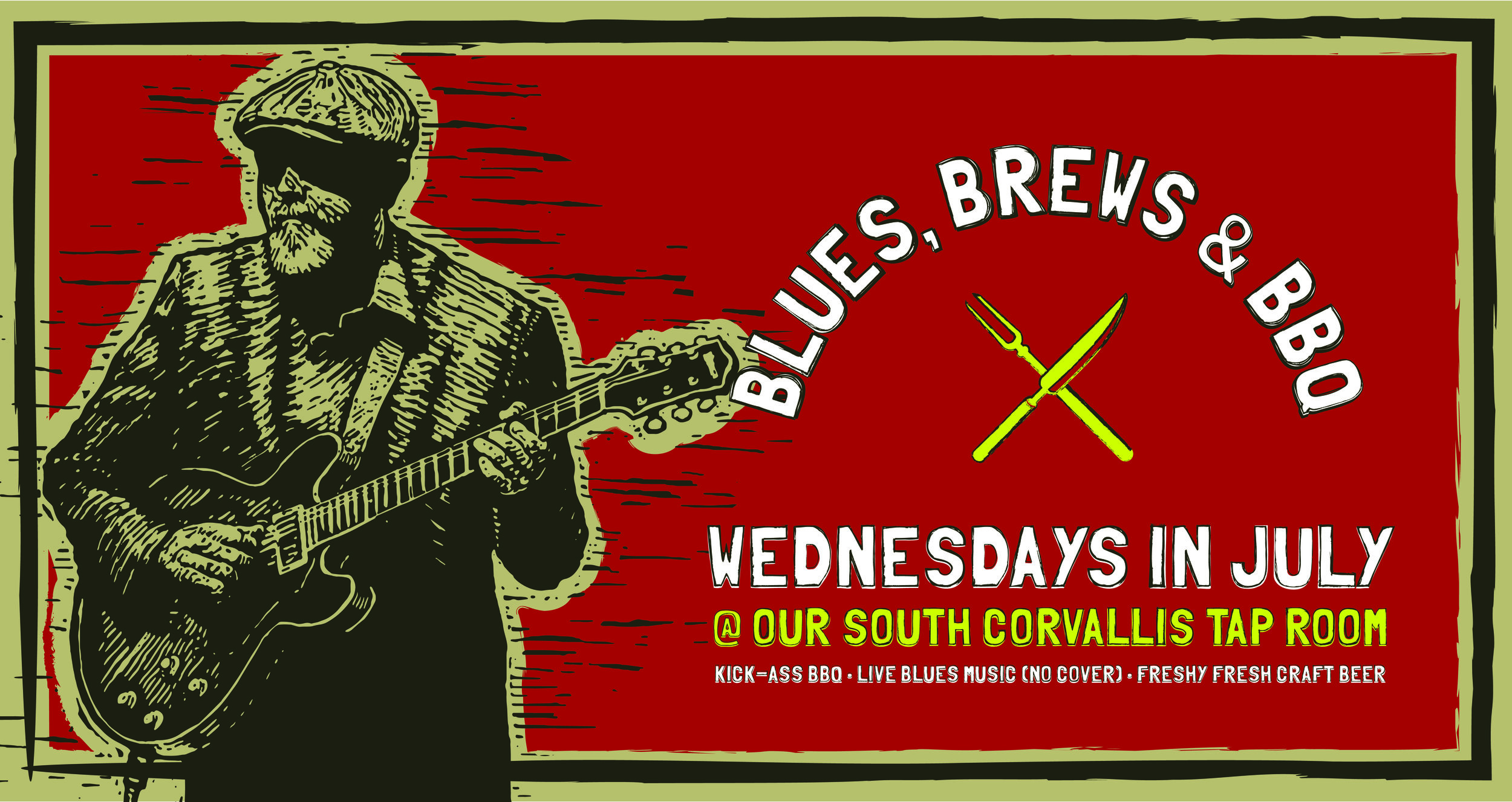 "Join us Wednesdays in July for ""Blues, Brews & BBQ"" at our Tap Room! Enjoy cover-free blues from local musicians, kick-ass BBQ specials, and freshy fresh beer brewed feet from your seat. This Wednesday we welcome Adam Scramstad and feature a special menu of Blueberry Smoked Pork Shoulder and Bourbon Pickles with a side of BBQ Beans, Street Corn and Texas Toast."
