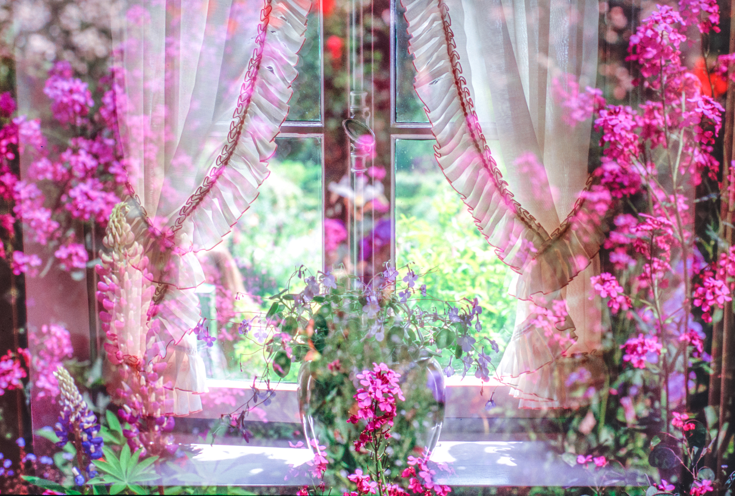 An Ode to Monet - his house in Giverny double exposed with is garden