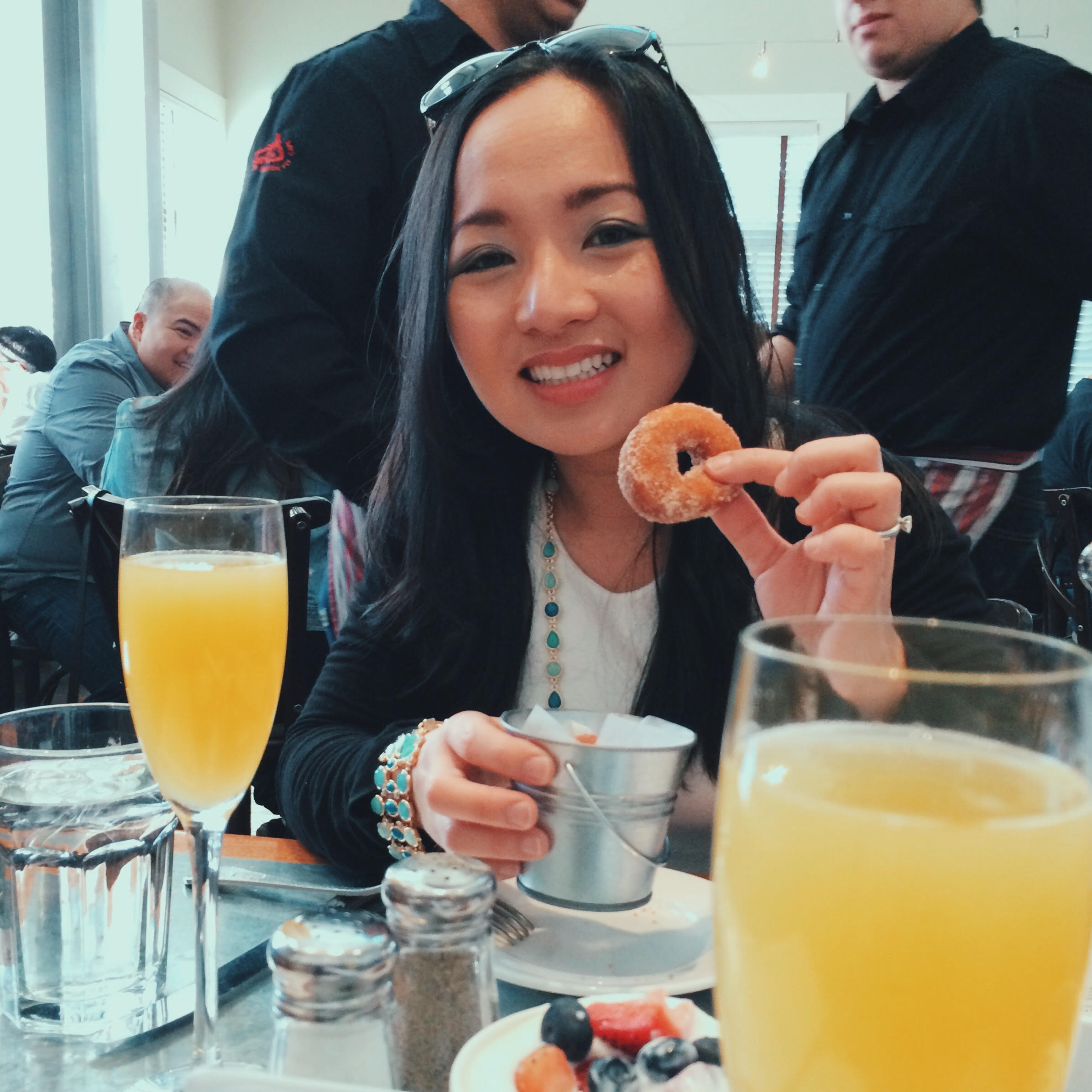 Bianca about to devour one of Boon Fly Cafe's world famous donuts. (Dave's Travel Corner)