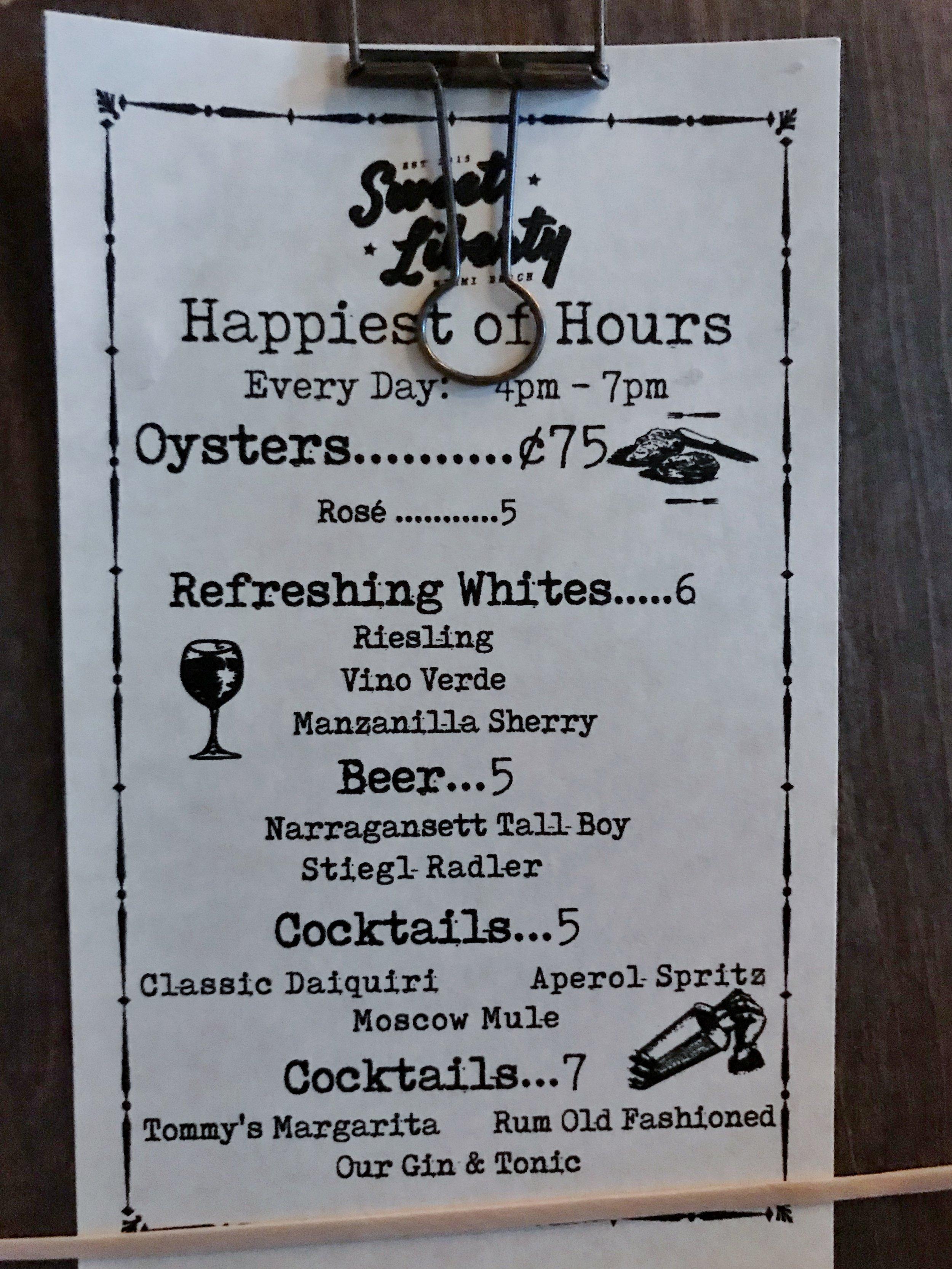 OYSTERS &classic daiquiri on sweet liberty's happy hour menu