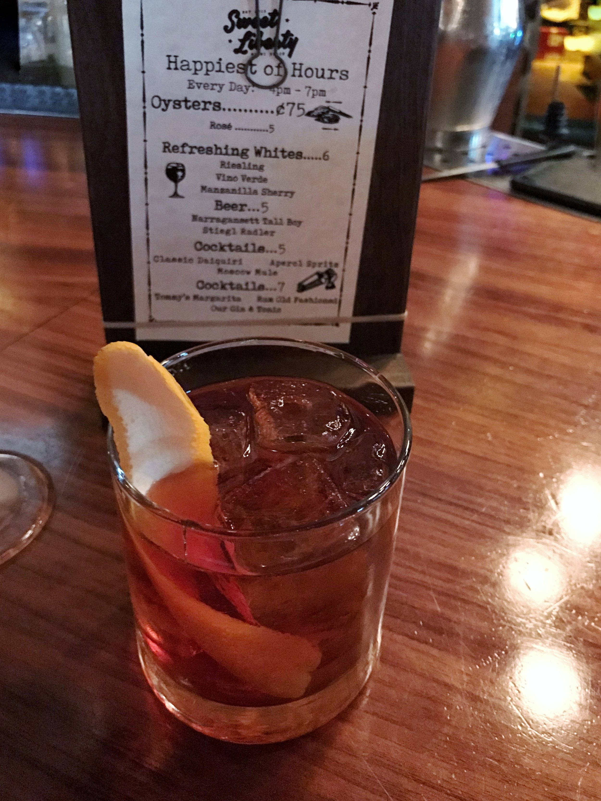 sweet liberty's rum old fashioned