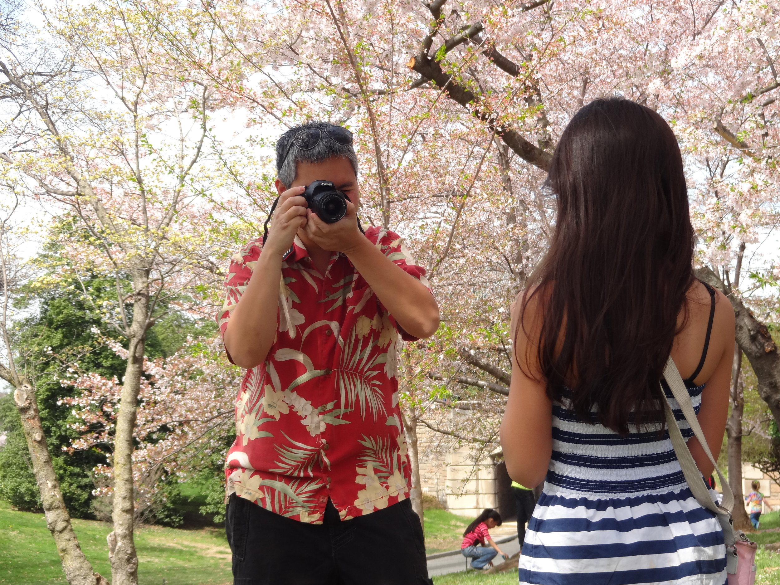 Striking a pose with the cherry blossoms