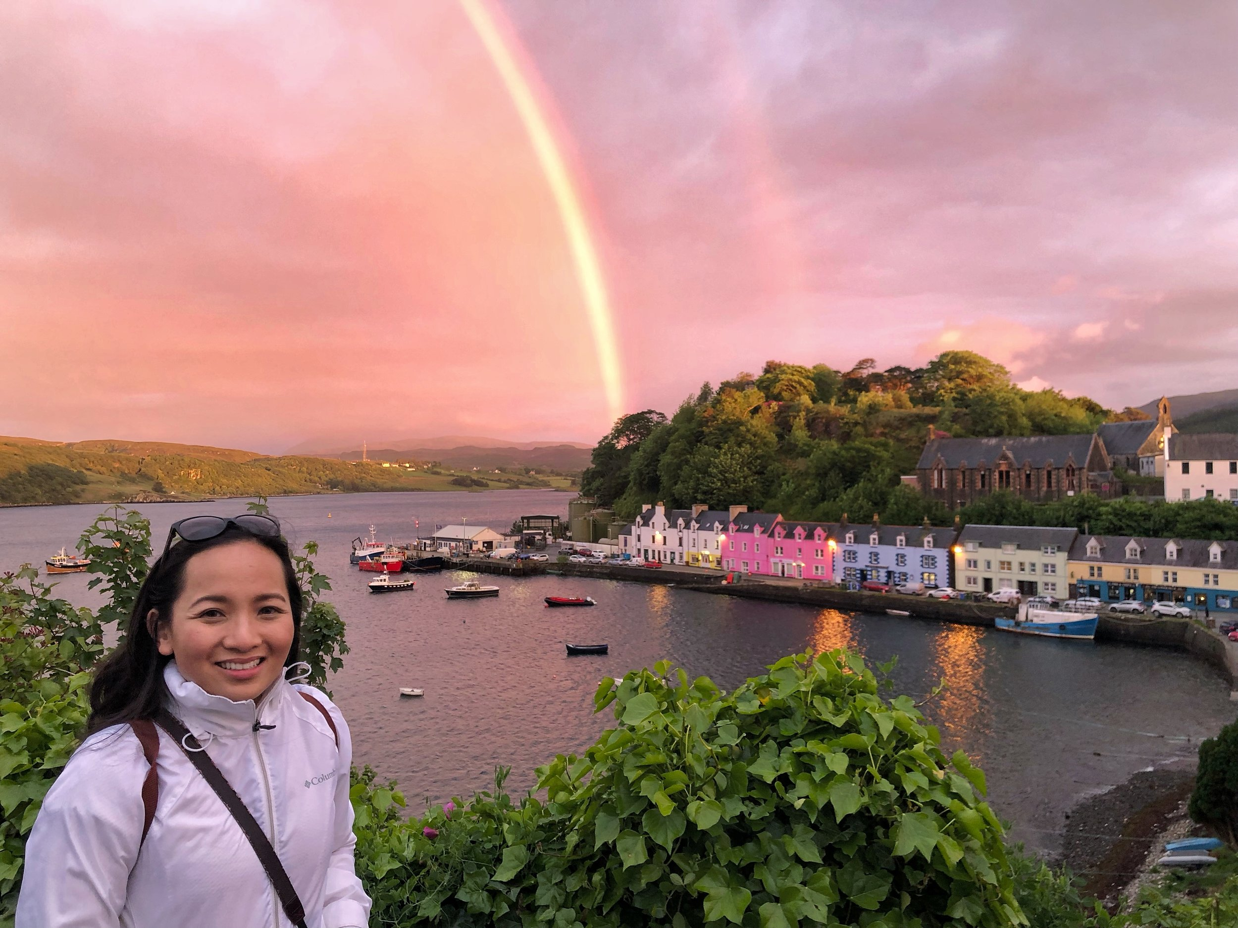 Blessed with a double rainbow in Portree, at the Isle of Skye, Scotland.