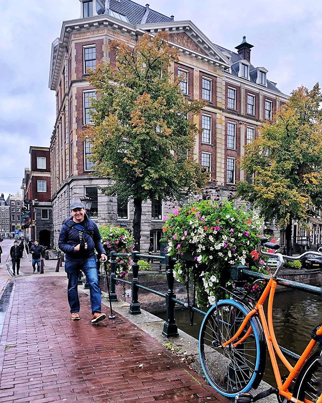 #Amsterdam #thenetherlands @jesuskarin handled European cobblestones, bow bridges, train travel, spiral staircases, basement toilets, rainy Amsterdam days, and crossing bike lanes like a pro!  His nemesis: flat polished epoxied floors - there's nothing to clear so he focuses less, but his rubber soles get caught, creating trip hazards 😬. We had some near misses but no falls, thankfully! Great job, honey bun!  #coffeeandtherapy #accessibletravel #gettheregetlost