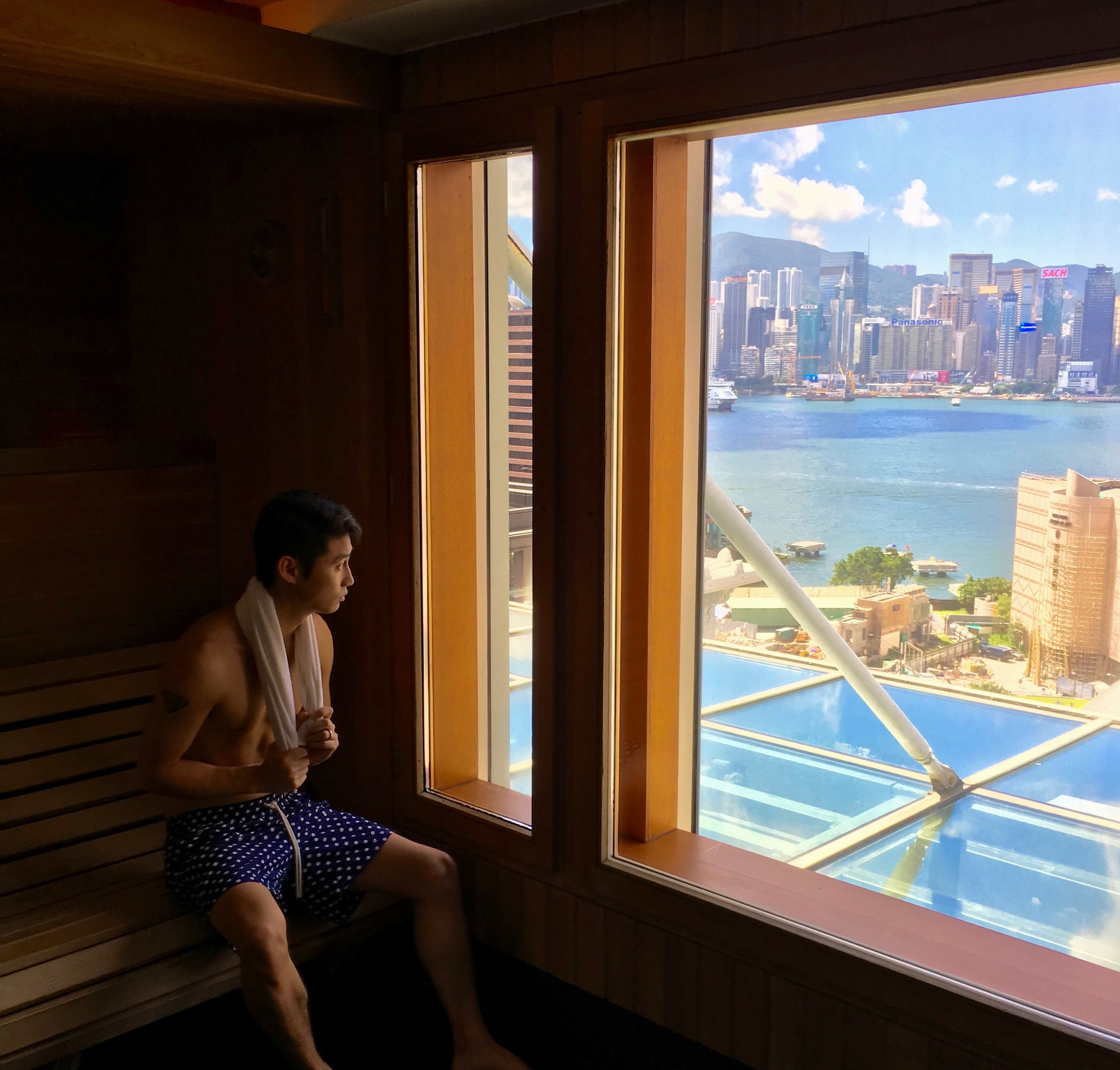Sauna with a killer view of the Victoria Harbour and Hong Kong skyline