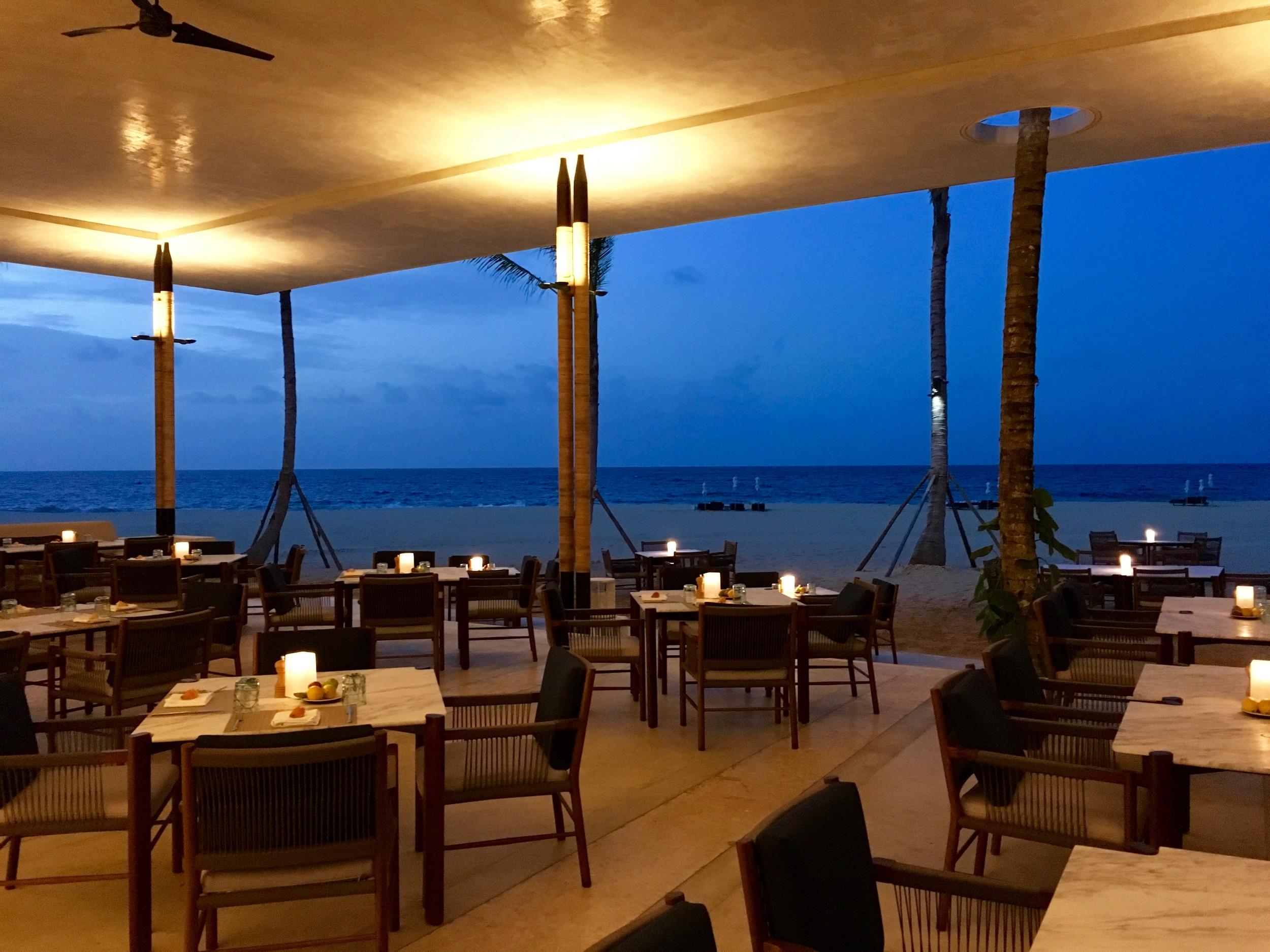 Dinner at the beach club.