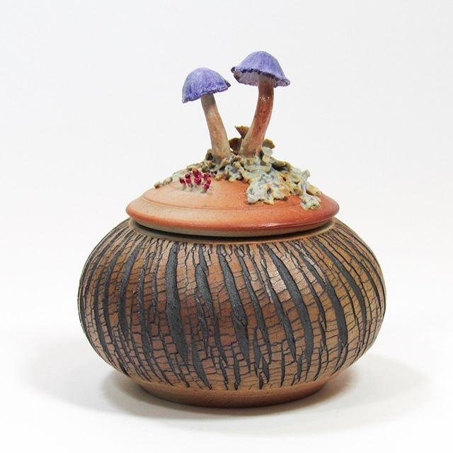 "I'll be the featured artist at the @edinaartcenter September 23-October 12. Stop in to see a selection from the ""Forest Floor"" collection and take a tour of this great art center. - - - (Mushroom container-sold) #botanicalart #mycology #sculpture #lichen #slimemold #mushrooms #ceramics #sodafired #shousugiban #trees #dendrology #botany #pottery #forest #umami"