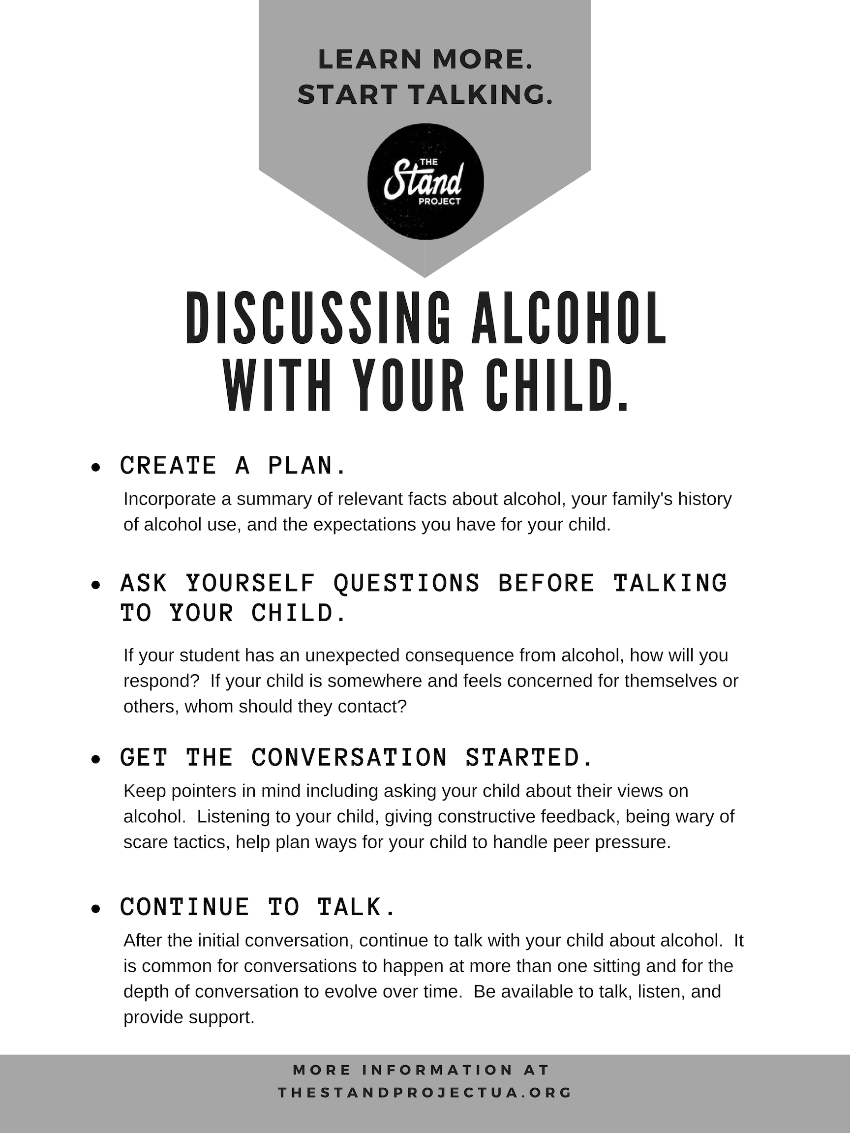 Tips for parents on discussing alcohol with their children.