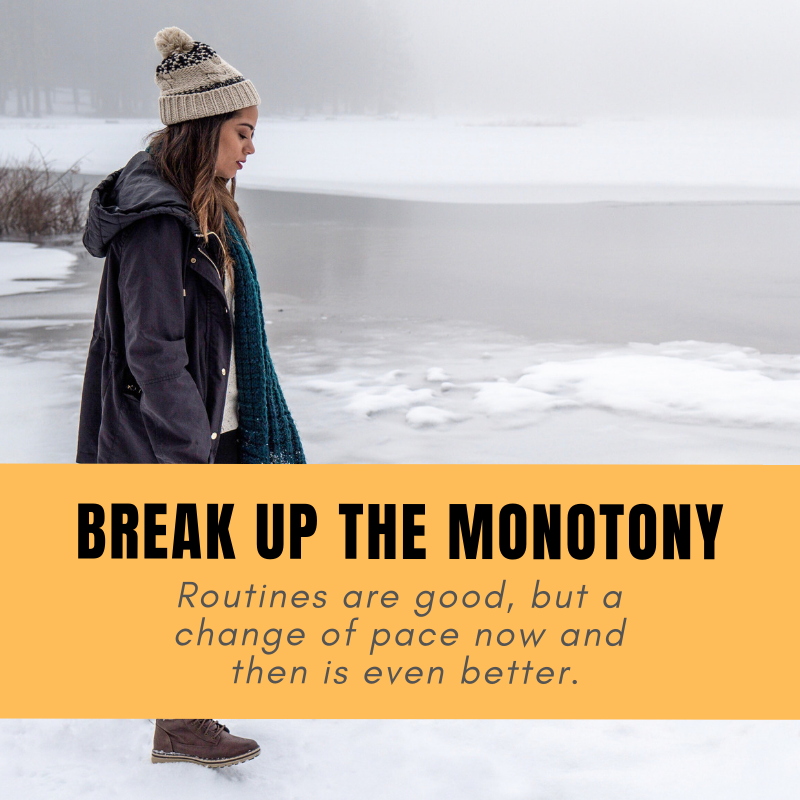 Break Up the Monotony - It's easy to get bored and frustrated by a life where each day is the same as the last. If you feel like you're stuck in a similar rut and are yearning for a change, here are five things you can do to break the monotonous routine and rejuvenate yourself: http://ow.ly/urZr50jYs1d