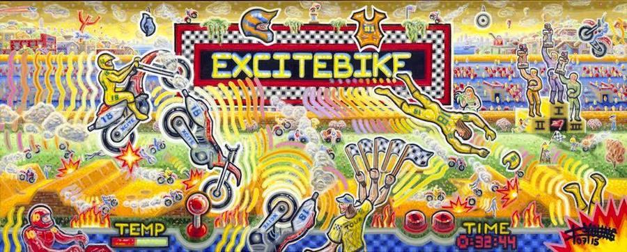 "Excitebike  16"" x 40""  Acrylic on Canvas"