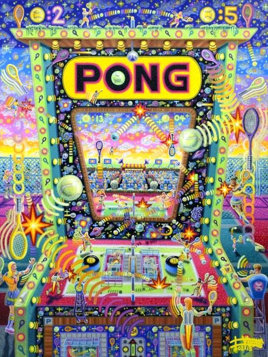 """Pong  40"""" x 30""""  Acrylic on Canvas"""