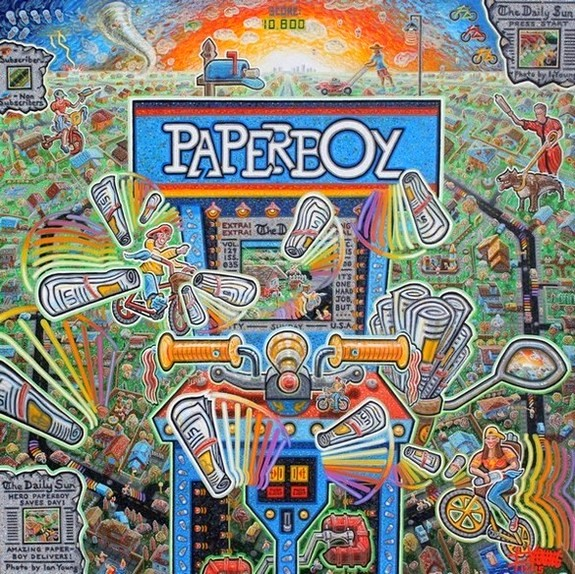 "Paperboy  40"" x 40""  Acrylic on Canvas"