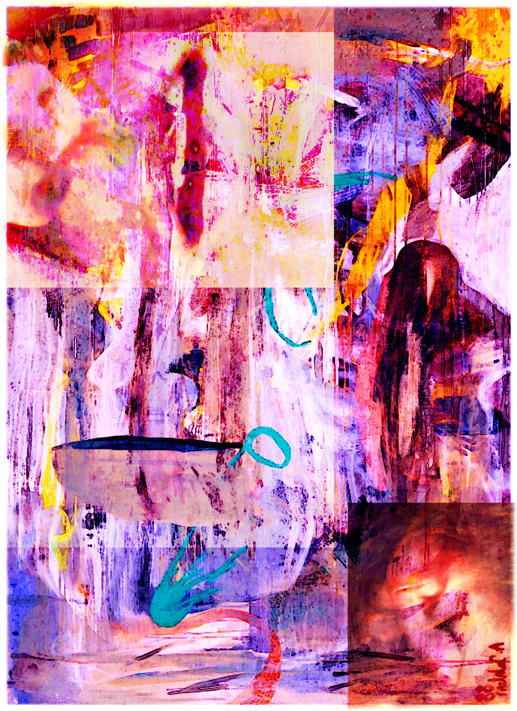 "Provisional Chaos 7/15/16  Pigmented inks and acrylic on canvas  52"" x 38"""