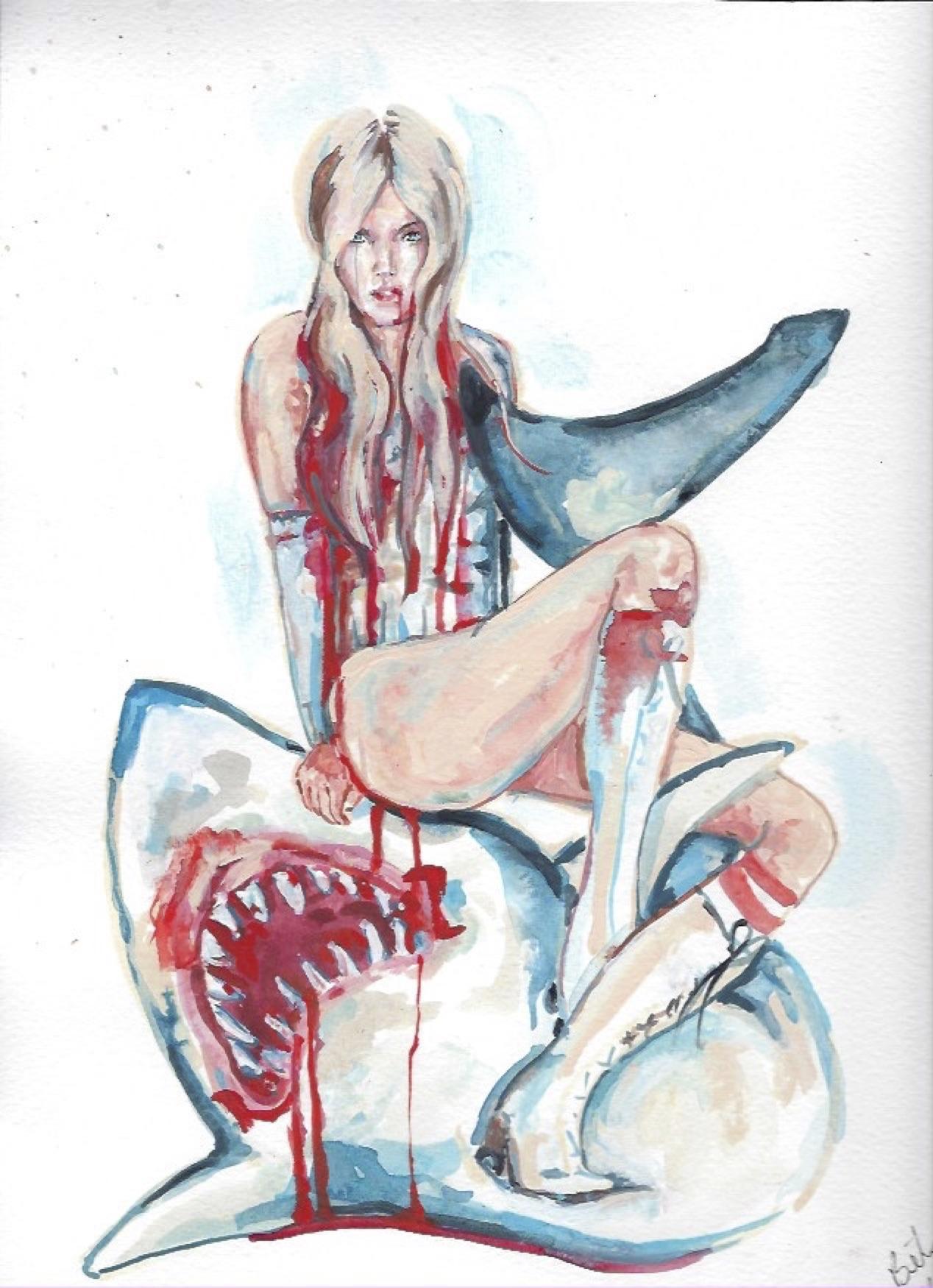 "Shark Girl 2  Gouache  10x12"""