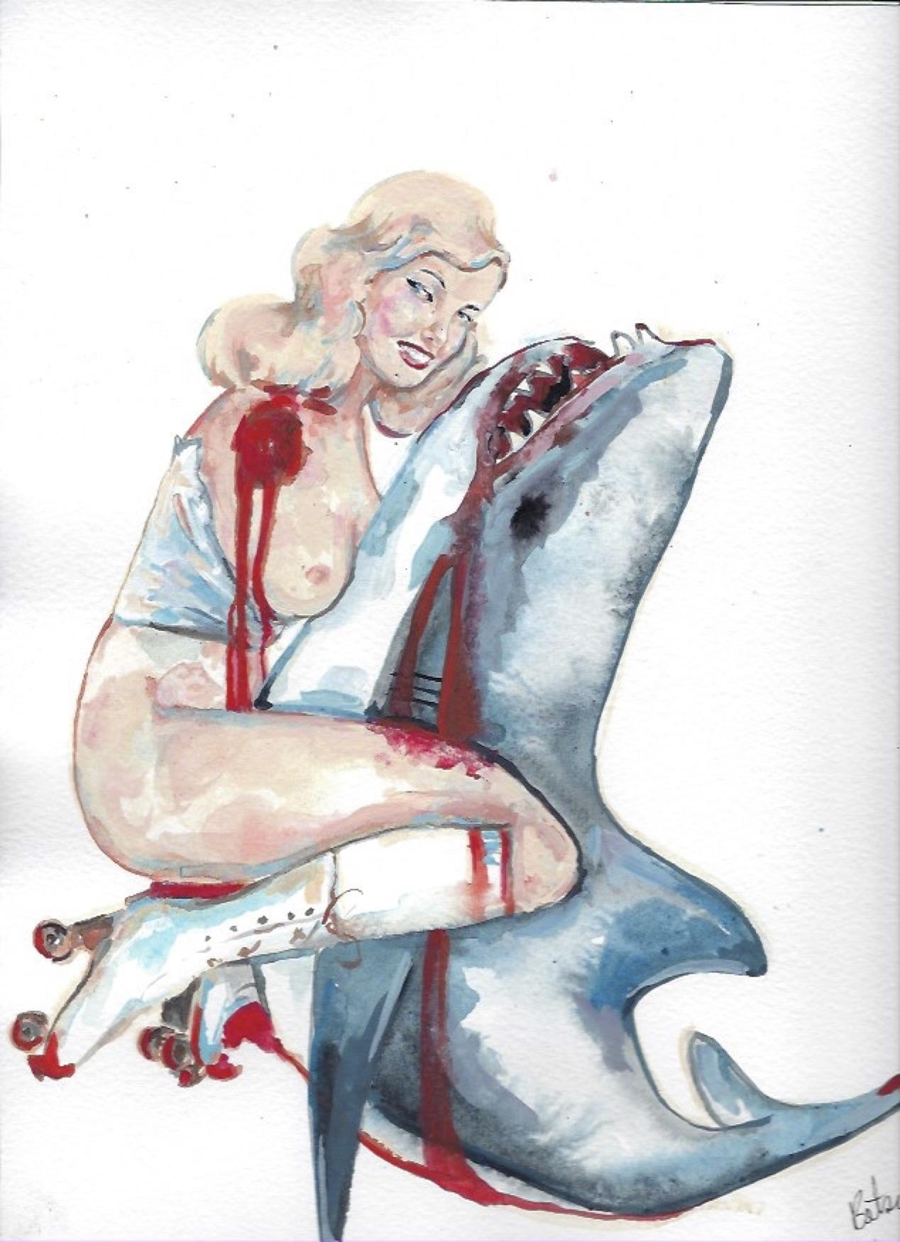 "Shark Girl 3  Gouache  10x12"""