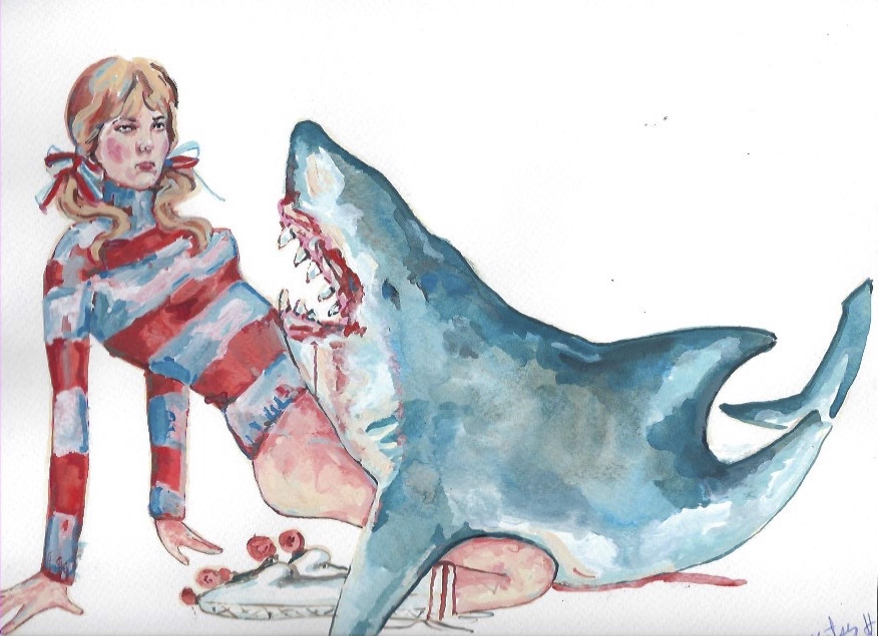 "Shark Girl 4  Gouache  10x12"""