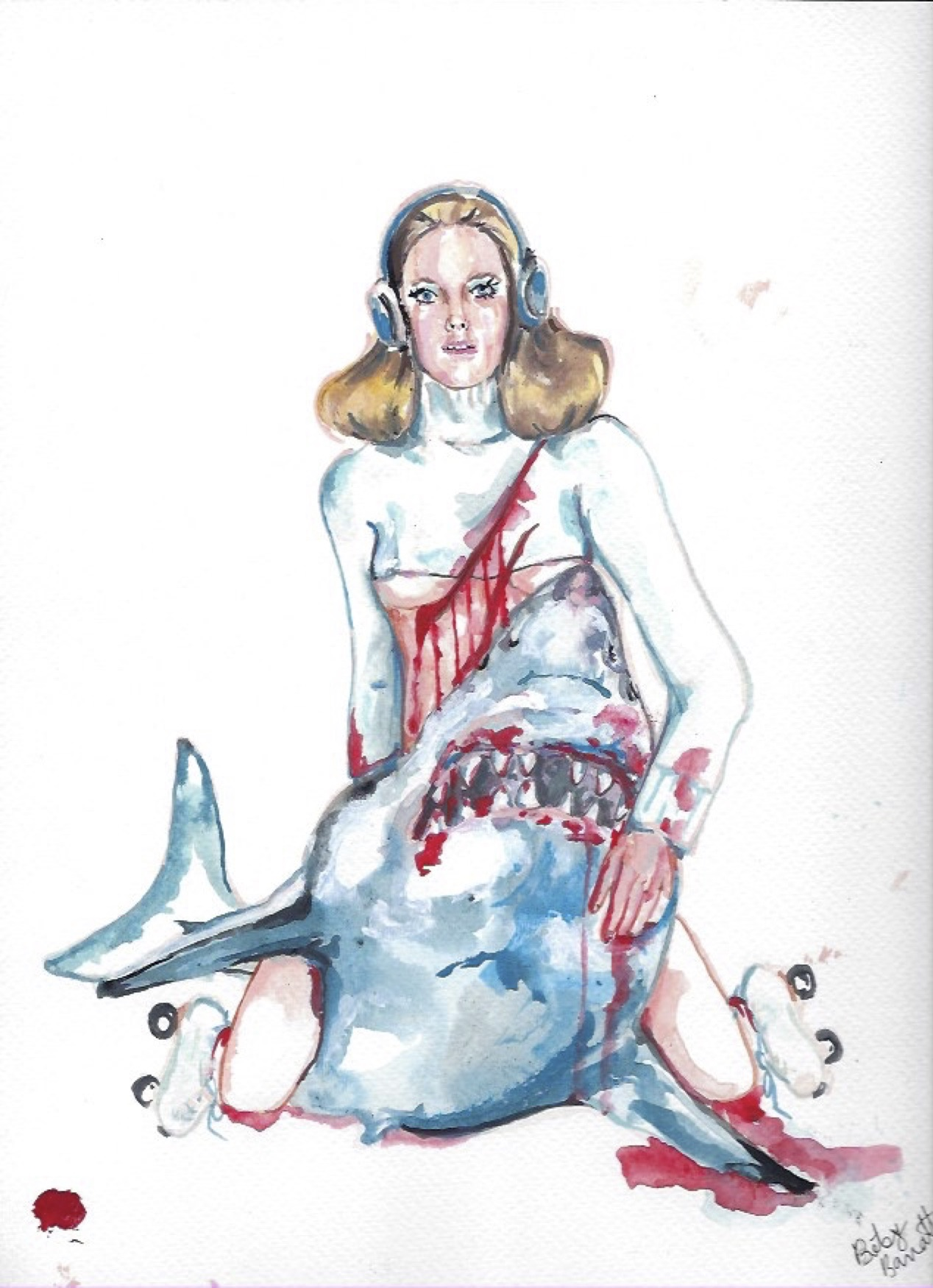 "Shark Girl 5  Gouache  10x12"""