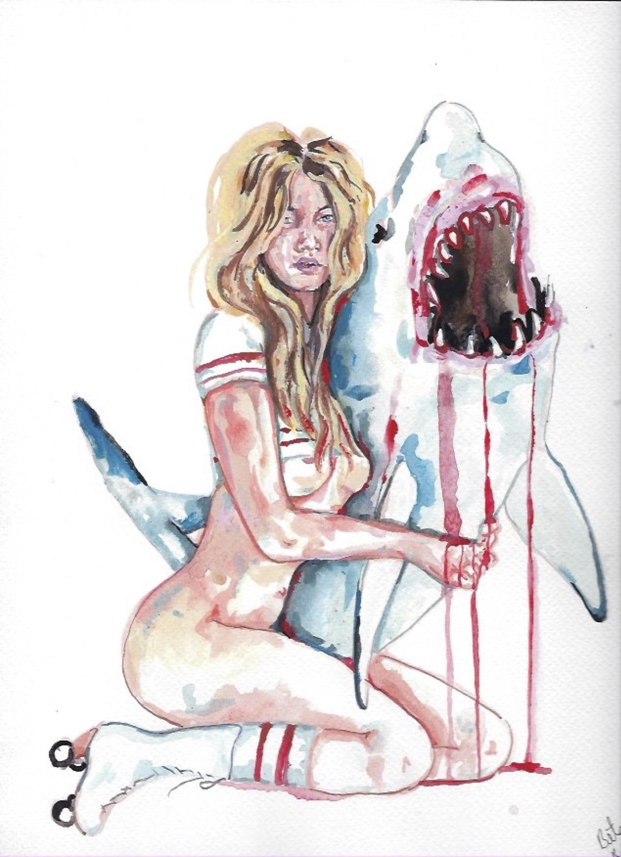 "Shark Girl 8  Gouache  10x12"""