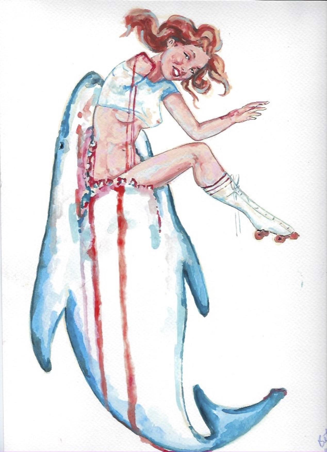 "Shark Girl 11  Gouache  10x12"""
