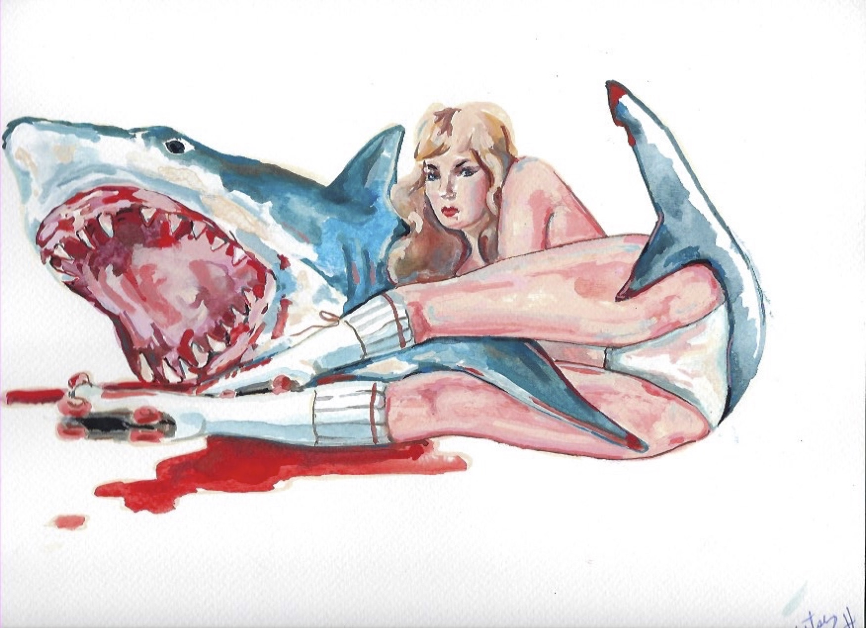 "Shark Girl 13  Gouache  10x12"""