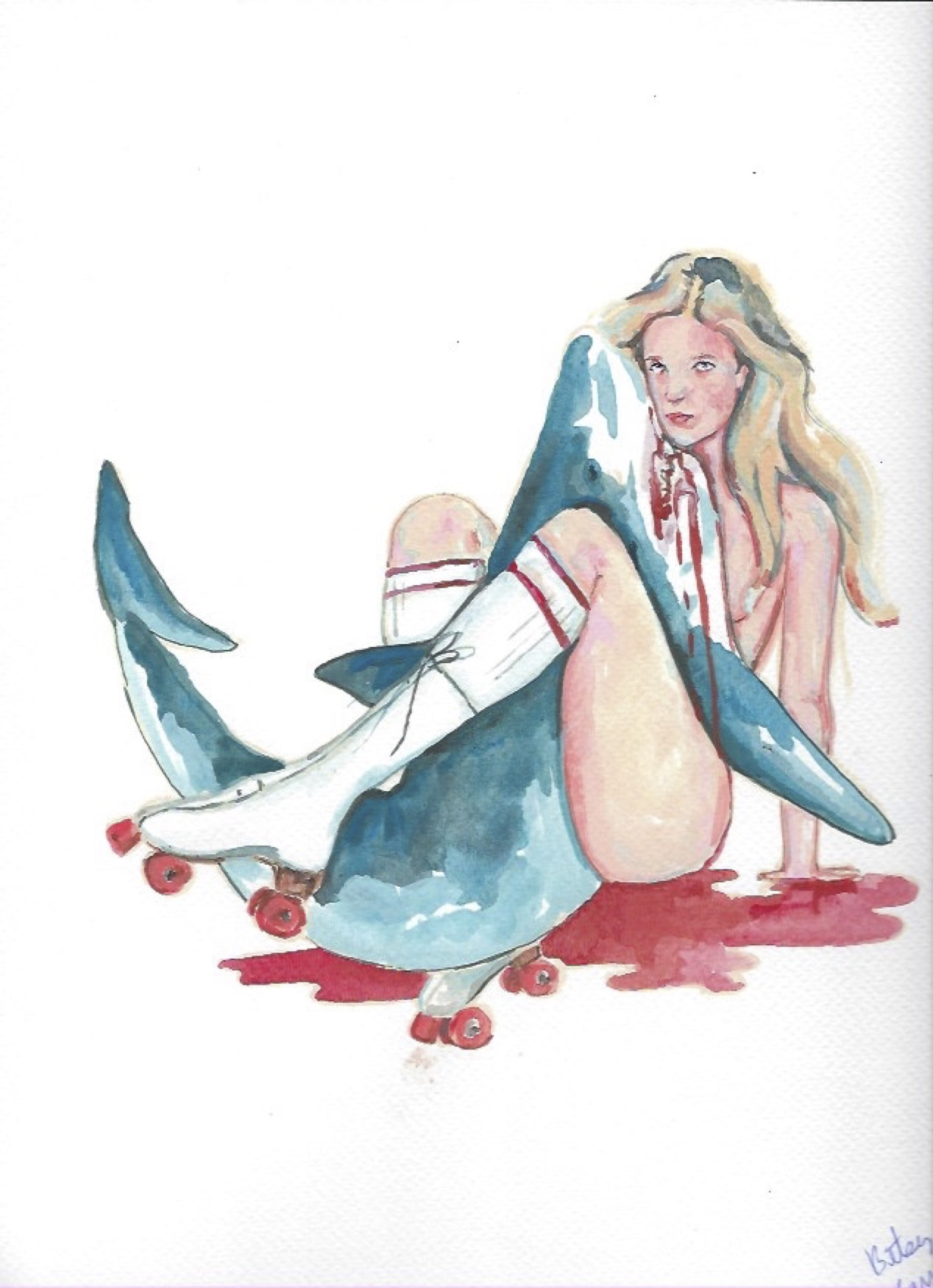"Shark Girl 14  Gouache  10x12"""