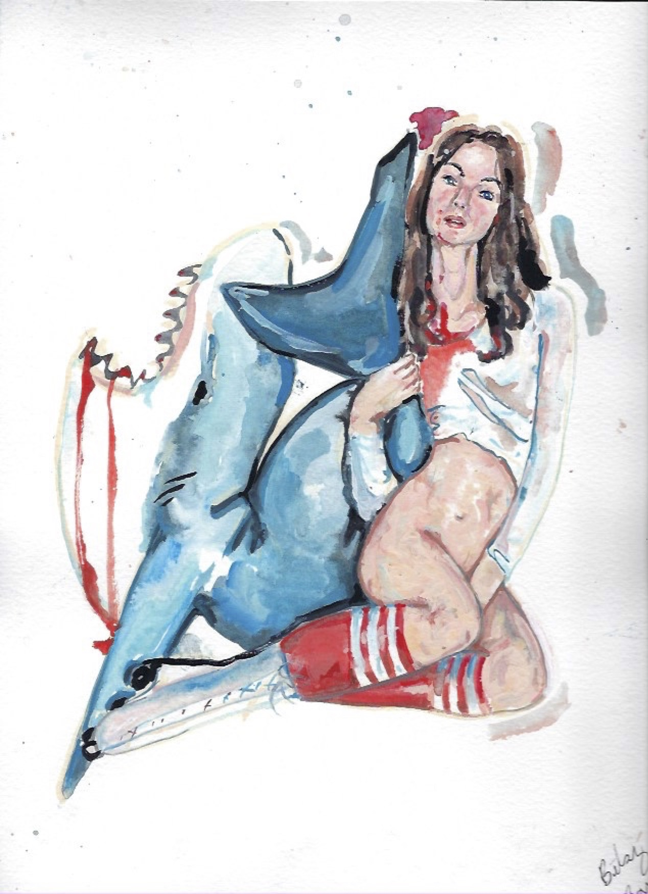 "Shark Girl 15  Gouache  10x12"""