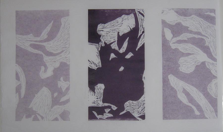 MeshIng Purple. Woodblock Print, 2013