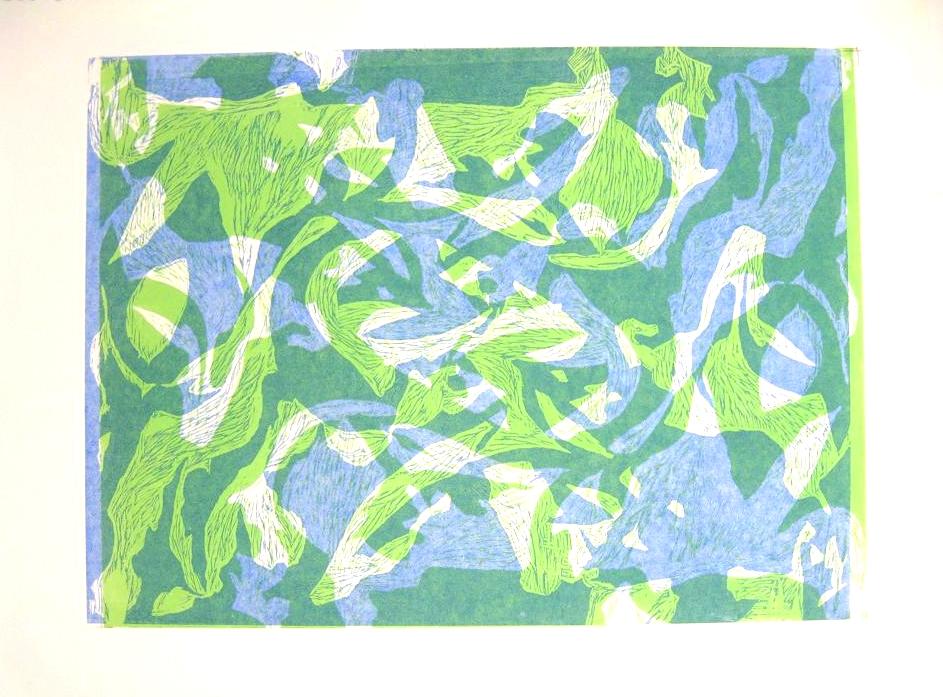 Mesh With. Woodblock Print, 2013