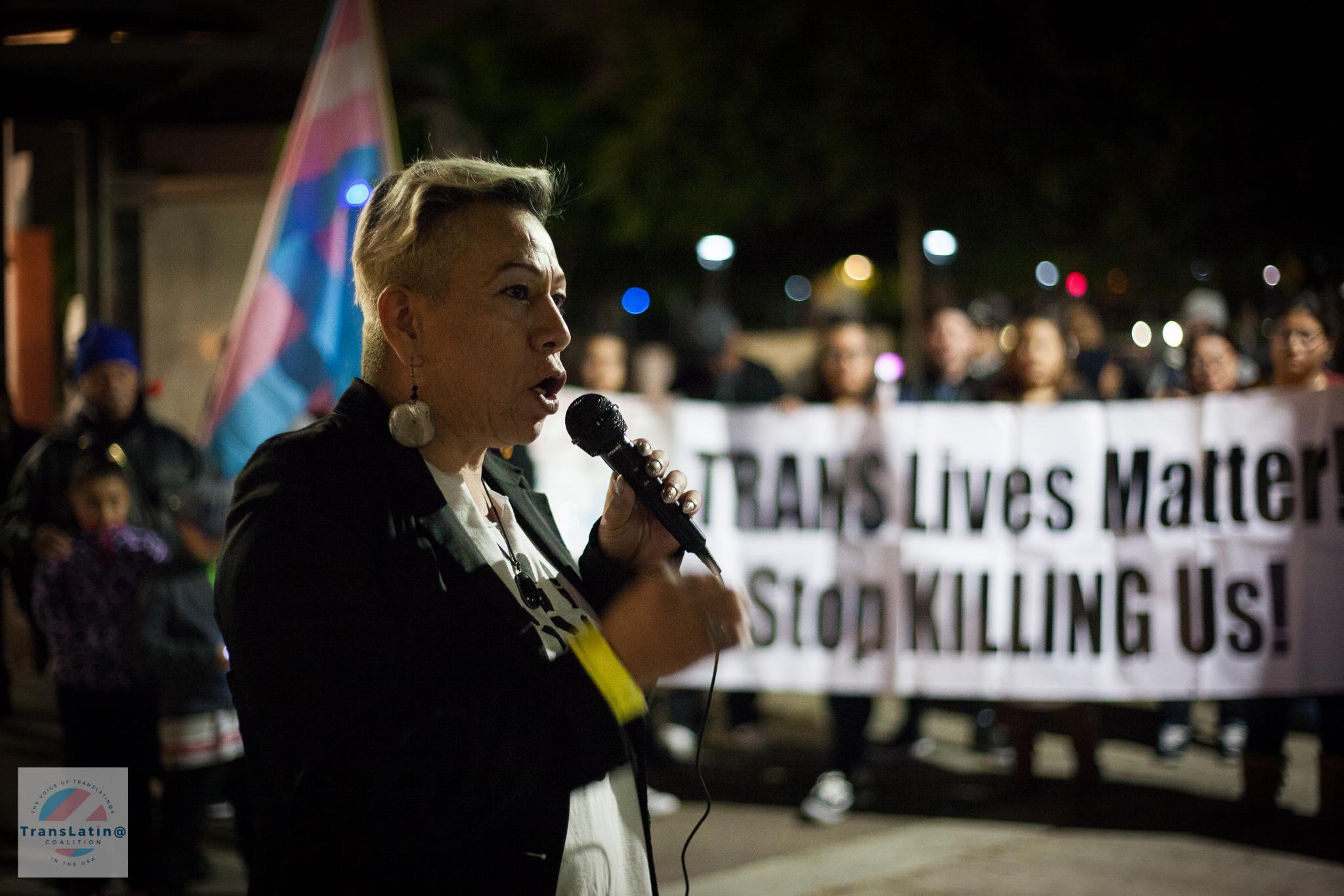 Bamby Salcedo, TransLatin@ Coalition President speaking at Annabel's vigil