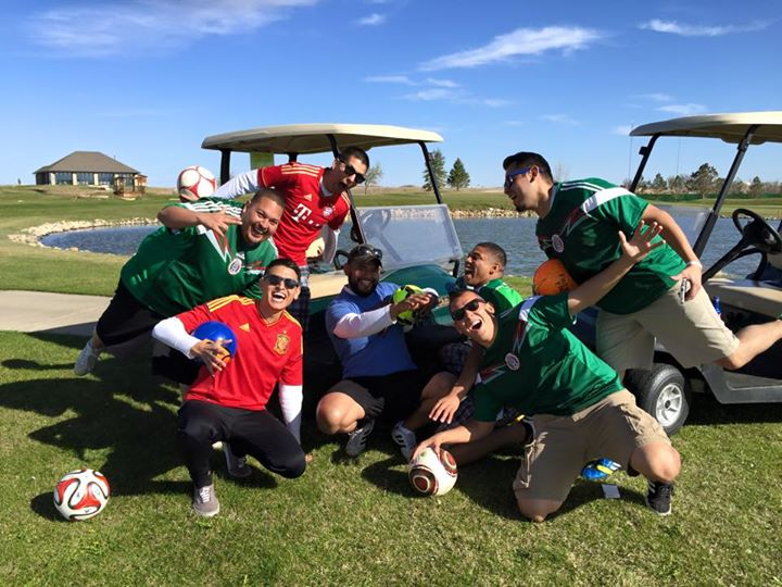 Lambda Chapter brothers golfing with other Colorado chapter brothers.