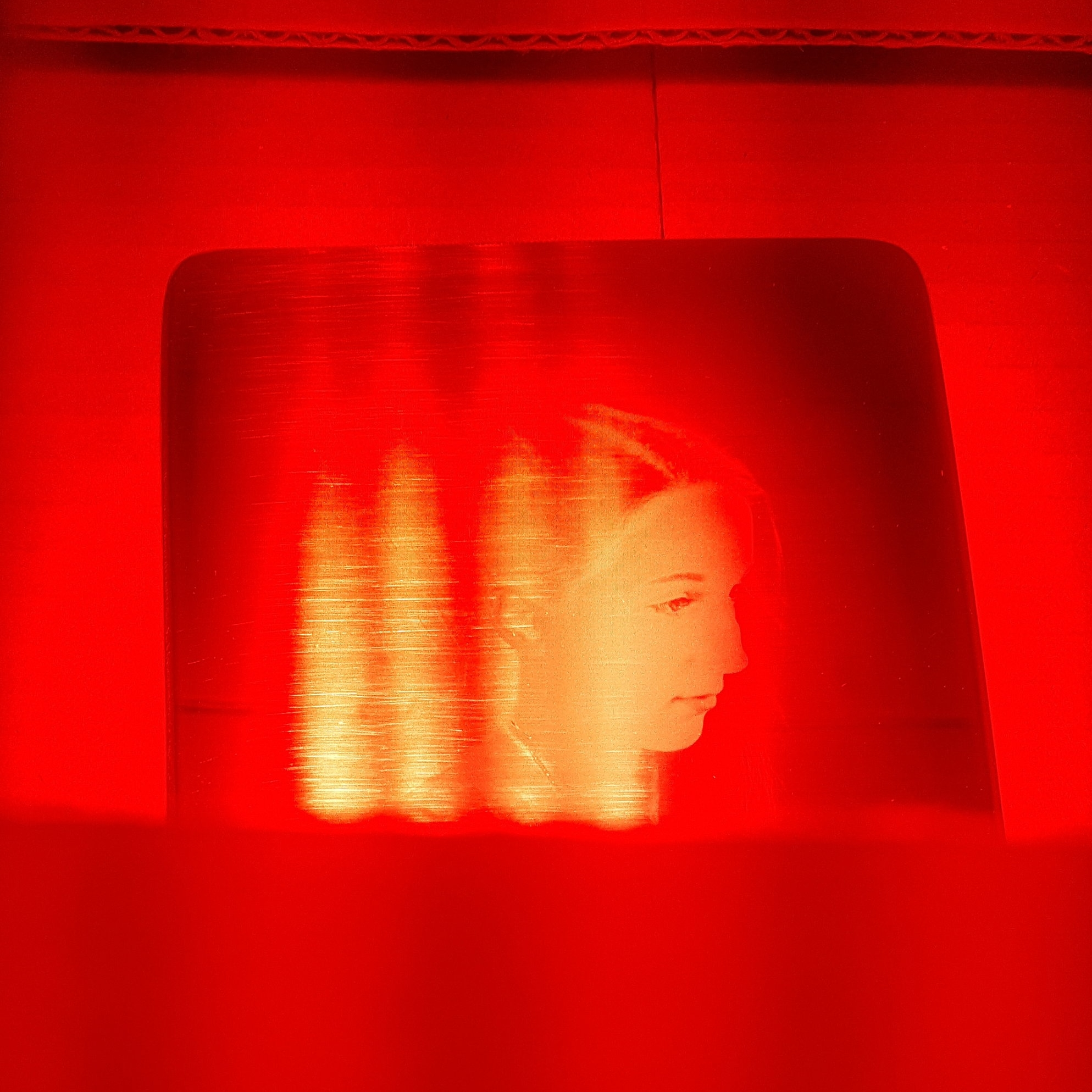 The latent image being developed under a bright LED red safe light.