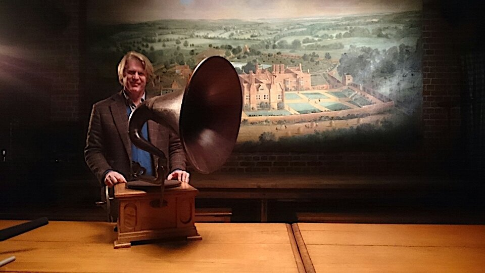 Mark Getty at Wormsley w fathers gramophone.jpg