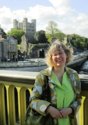 Marion Haslam next to Rochester Castle