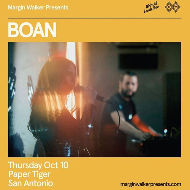 @marginwalkertx presents BOAN 10/10.  Tickets available online NOW.