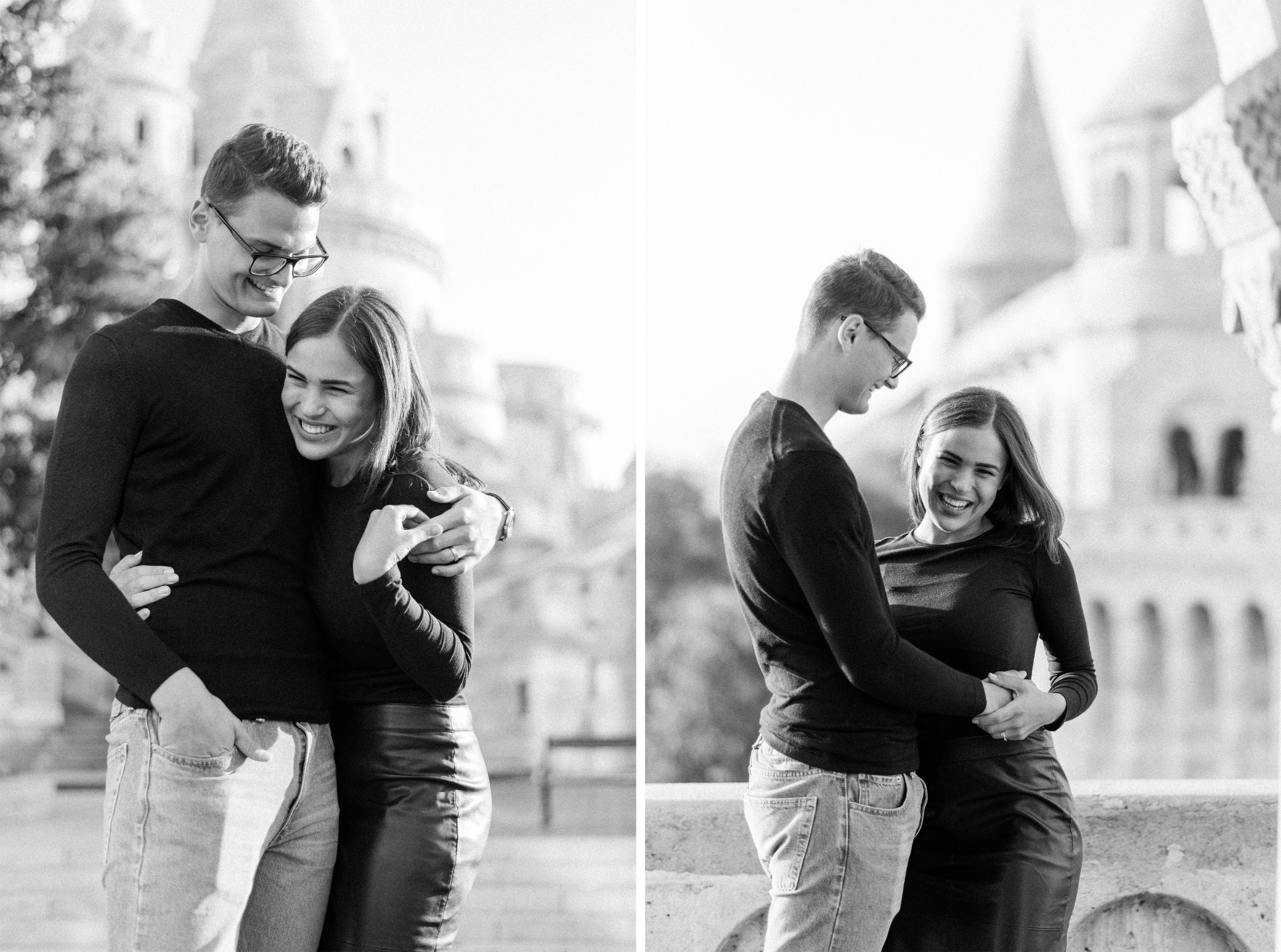 bw engagement session budapest empty castle.jpg