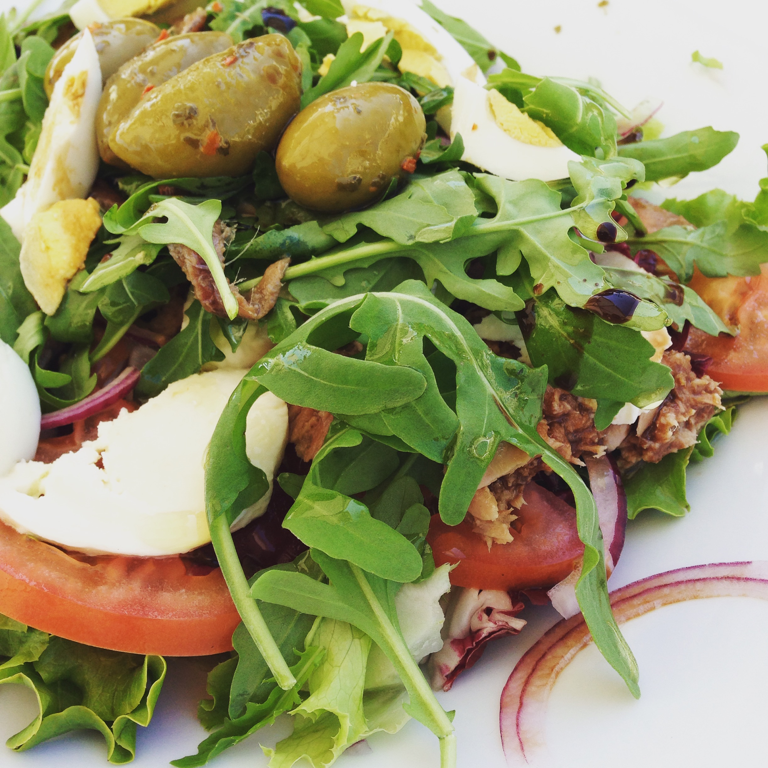 Even the salads are heavy with olives, cheeses, and meats or tuna.
