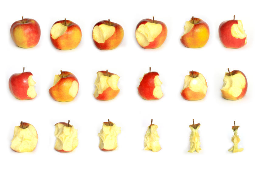 Practice! Eat an apple one bite at a time; chewing each bite thoroughly. When the apple is finished, drink a glass of water. Now ask yourself, 'Am I hungry?'.