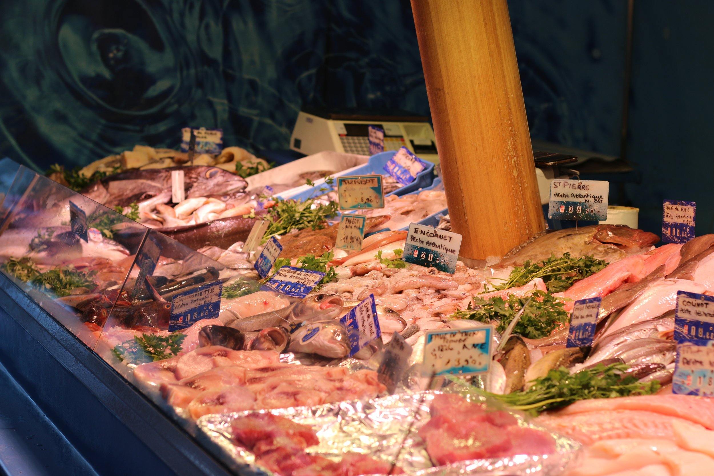 a whole foods worthy seafood display out in the street
