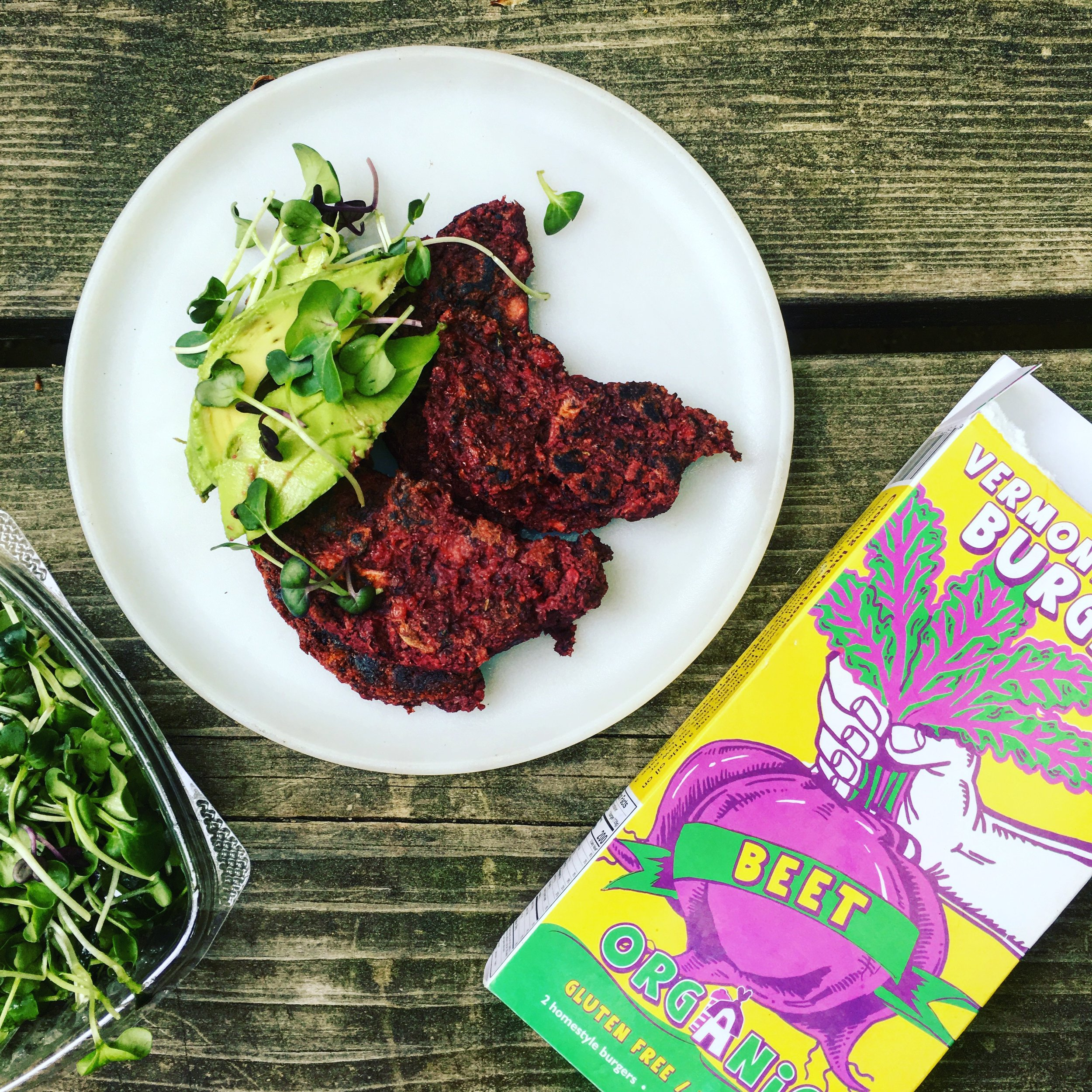 These local beet burgers were so good! I cooked them camp style post ride.