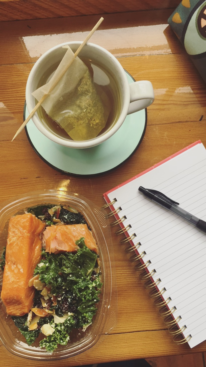 Hit a cafe on a rainy day for tea and kale salad