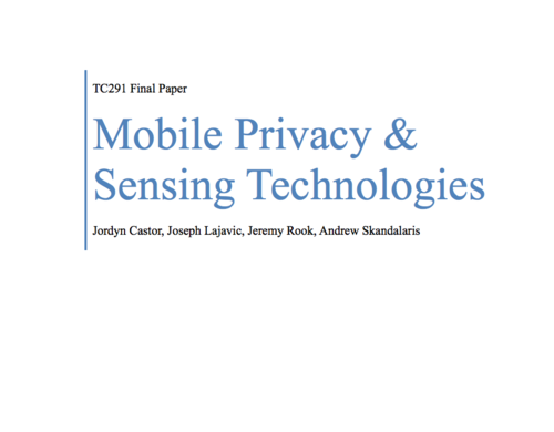 Researched and reported on methods carriers and manufacturers utilize to surveil via mobile phones and their associated onboard sensing technologies (gyroscope, barometer, etc). Full text available below, or download by clicking on the image above.