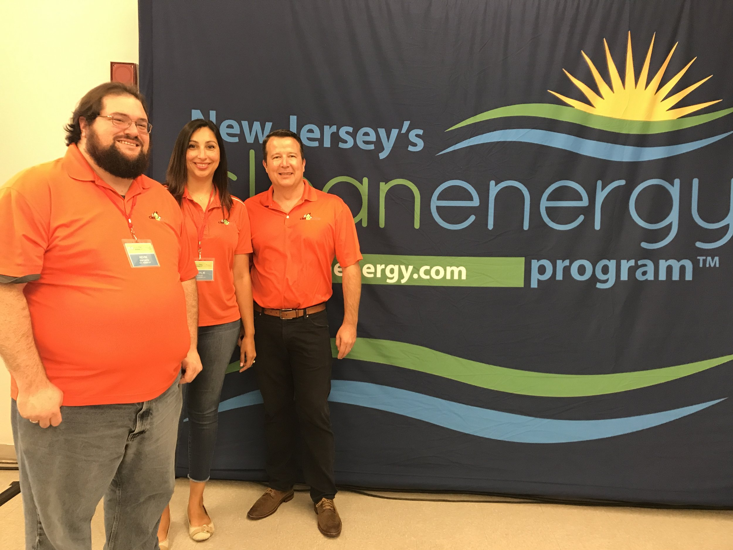 From left, Kevin Esposito, Ciel Power Program & Administrative Manager, Natalie Tocci, Ciel Power Home Performance Consultant, and Scott Fischer, Ciel Power Managing Member at the 2017 New Jersey Clean Energy Conference