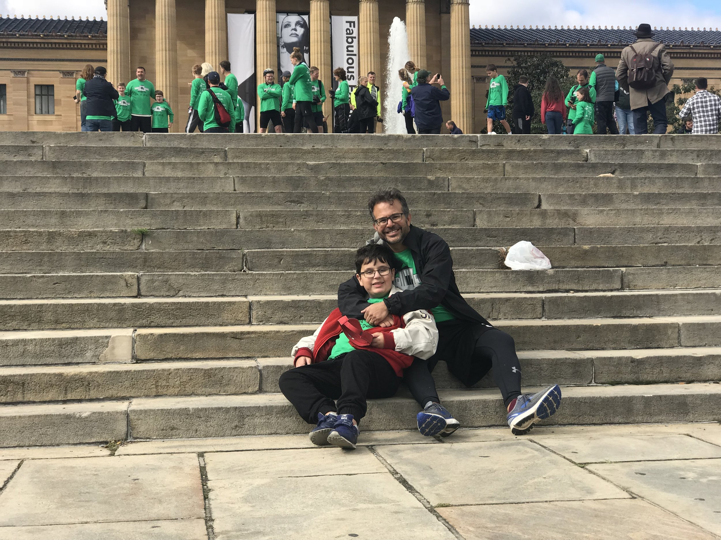 Chris and Theo at the steps after the 2018 Rocky Ride