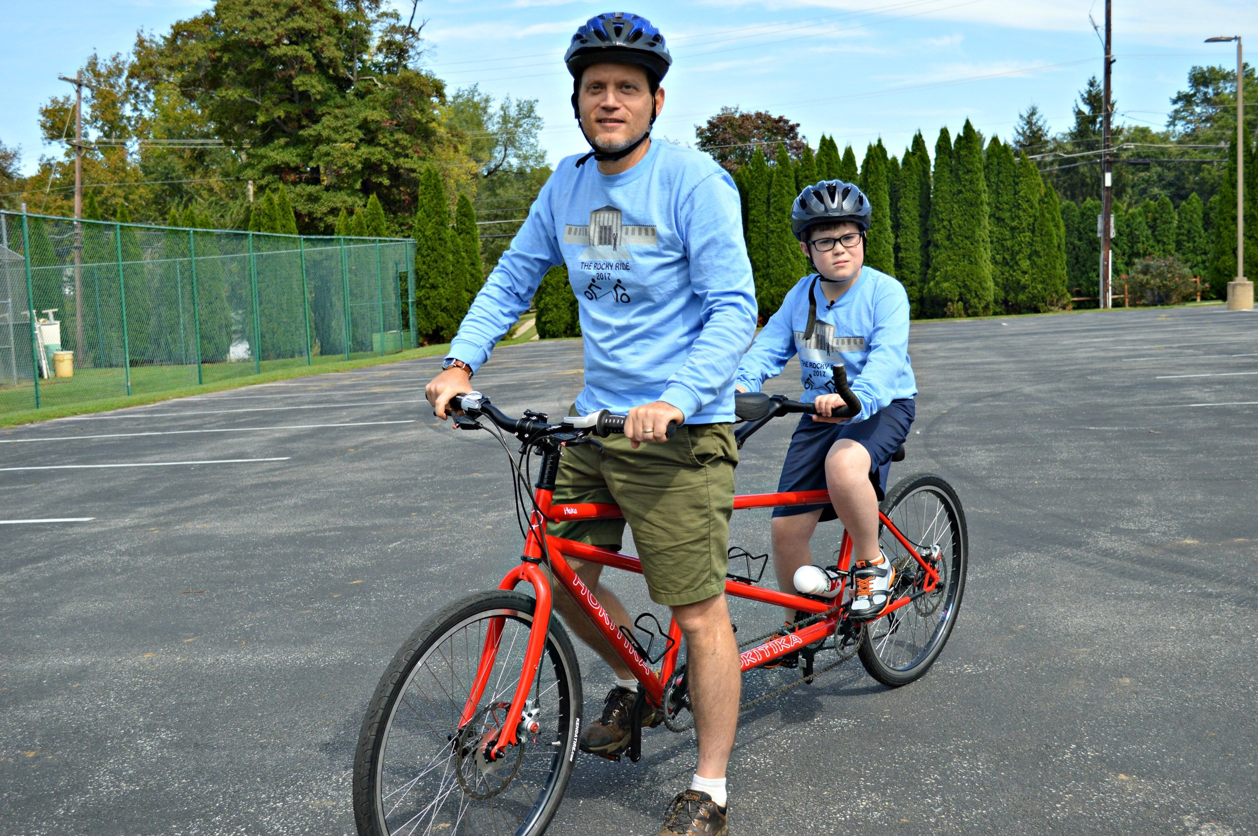 Tim and Nathanael on their tandem