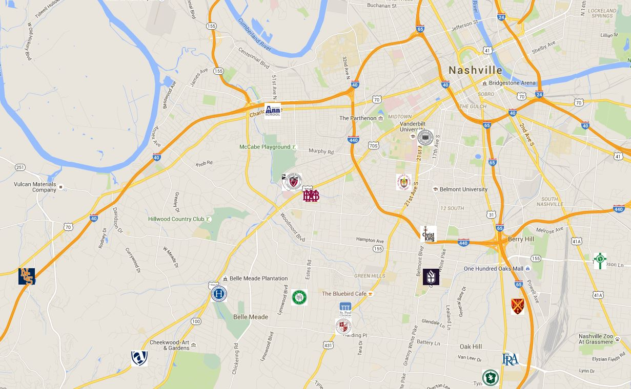 Map — Independent Schools of the Nashville Area